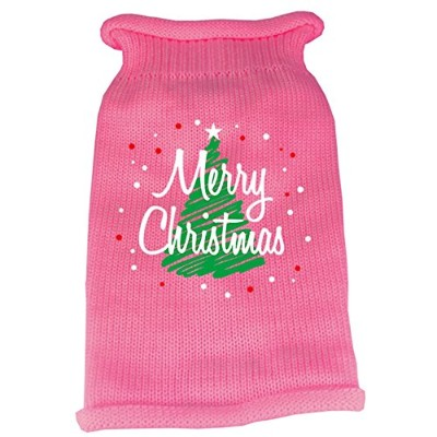 Scribbled Merry Christmas Screen Print Knit Pet Sweater MD Pink