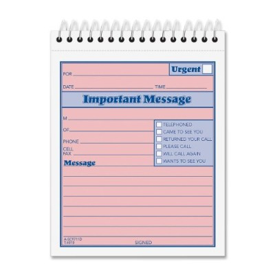 Telephone Message Book with Fax/Mobile Section, 4-1/4 x 5 1/2, Two-Part, 50/Book (並行輸入品)