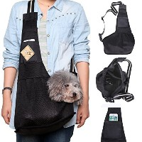 LUXMO?Black Nylon Fabric Pet Sling Carrier Side Tote Single Shoulder Bag Dogs and Cats Size L by...