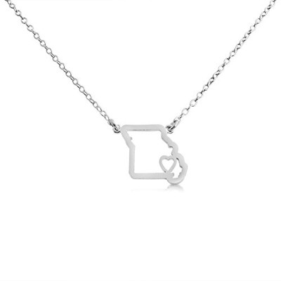 925 Sterling Silver Small Missouri -Home Is Where the Heart Is- Home State Necklace (14 Inches)