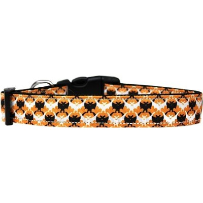 Bat Argyle Nylon Dog Collar Medium