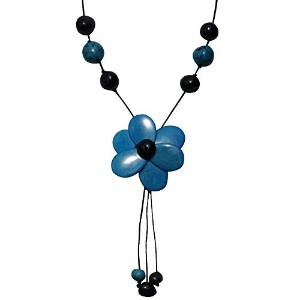 Les Poulettes Jewels–Tagua Neckletターコイズとブラックフラワー