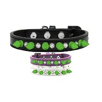 Crystal and Neon Green Spikes Dog Collar Lavender Size 10