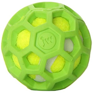 JW Pet Company 42203 Proten Hol-ee Roller Lime Green Tennis Ball, Mini, Assorted Colors (Green/Red...