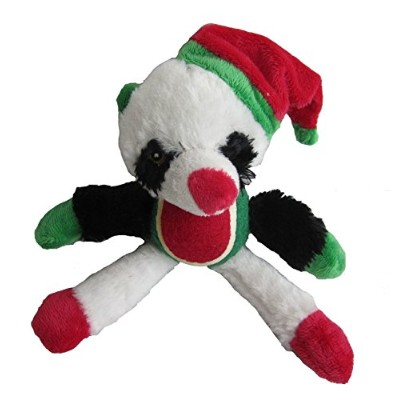 Iconic Pet Christmas Panda with Tennis Ball Squeaky Holiday Pet Dog Stuffed Toy [並行輸入品]