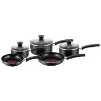 Tefal 5 piece Non Stick Cookware Frying Pan Set Pot Cook Lid Essential Kitchen
