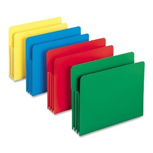 Expansion Drop Front File Pockets, Straight Tab, Poly, Legal, Assorted, 4/Box (並行輸入品)