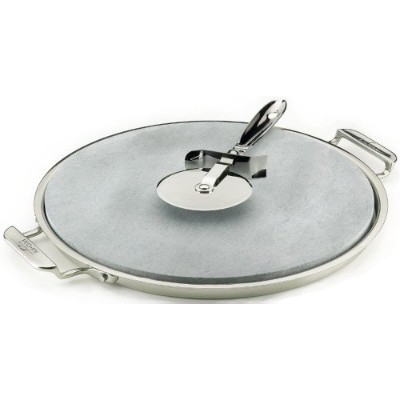 All-Clad 00280 Stainless Steel Serving Tray with 13-inch Pizza-Baker Stone Insert and Pizza Cutter,...