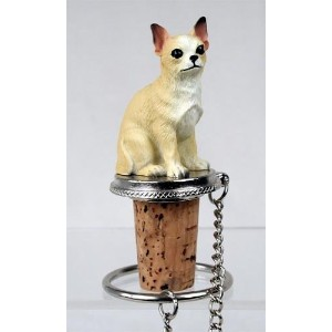 Chihuahua White/Tan Wine Bottle Stopper - DTB06B by Conversation Concepts