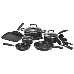 T-fal C109SC Signature Nonstick Expert Thermo-Spot Heat Indicator Cookware Set, 12-Piece, Blue by T...
