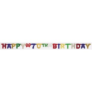 Creative Convertingパーティー装飾Jointed Banner、Happy 70th Birthday、6.5フィート One size fits most 290051