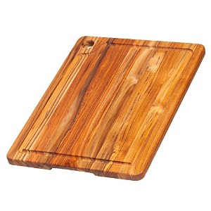 Teak Cutting Board - Rectangle Edge Grain Board With Corner Hole And Juice Canal (16 x 12 x .5 in.)...