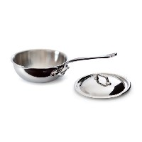 Mauviel Made In France M'Cook 5 Ply Stainless Steel 5212.17 0.9 Quart Curved Splayed Saute Pan with...