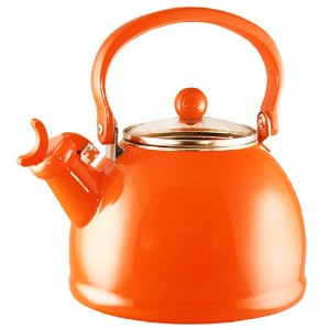 Calypso Basics Whistling Tea Kettle with Glass Lid, 2.2-Quart, Orange by Reston Lloyd