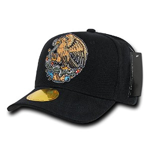 Decky N16-MEX-BLK Curve Bill Eagle Caps, Mexico, Black
