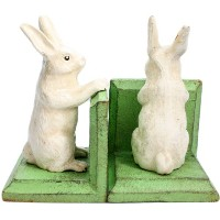 HomArt Cast Iron Bunny Bookends, White, Set of 2 by HomArt