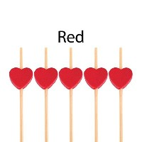 BambooMN Brand - Decorative Heart Bamboo Picks 8.3 (21cm) - 100 pcs, Red by ThinkBamboo - Cooking