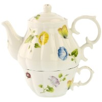 Gracie中国Karly 's Butterflies 3ピースPorcelain Tea for One、重ねティーポットとカップ