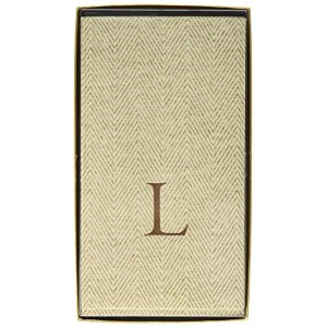 Entertaining with Caspari Jute Herringbone Paper Linen Guest Towels, Monogram Initial L by Caspari