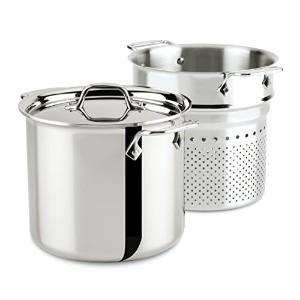 All-Clad 4807 Stainless Steel Tri-Ply Bonded Dishwasher Safe Pasta Pentola with Insert / Cookware,...