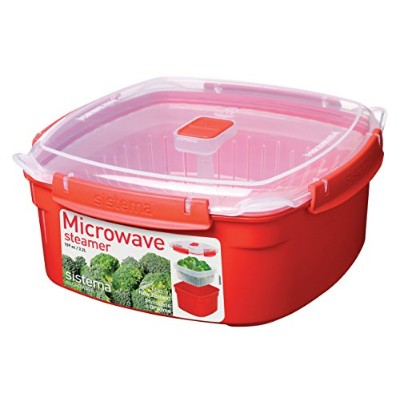 Sistema Microwave Cookware Steamer, Large, 108.2 Ounce/13.5 Cup, Red by Sistema