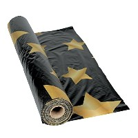 Gold Star Black Tablecloth Roll - Party Tableware & Table Covers by Fun Express