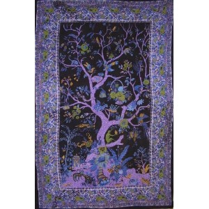 Tree of Life Tapestry Cotton Bedspread 104 x 86 Full Purple by India Arts