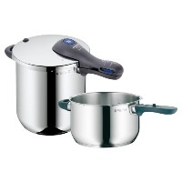 WMF Perfect Plus 8-1/2-Quart and 4-1/2-Quart Stainless Steel Pressure Cookers with Interchangeable...