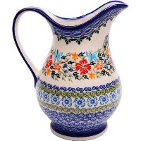 Polish Pottery Ceramika Boleslawiec Pitcher K Cups, Royal Blue Patterns with Red Cornflower and...