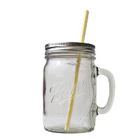 MASON JAR DRINKING MUG STRAW SERIES (700ml/ワイド/ストロー穴・中央)