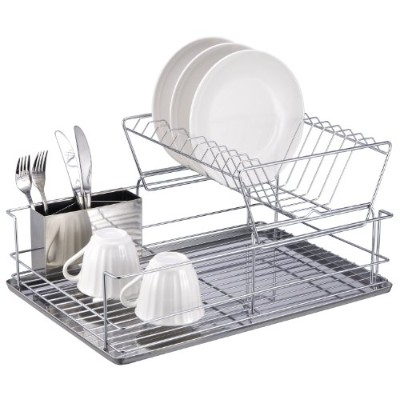 Home Basics DR30245 2 Tier Stainless Steel Dish Rack,
