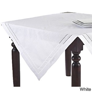 Hand Hemstitched and Embroidered Swiss Dot Tablecloth (90 Square, White) by fenncostyles.com