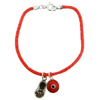 Kabbalah Red String Baby Shoe Charms Bracelet