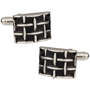 Chunky Woven Black and Silver Cufflinks Cuff - Daddy
