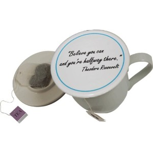 Tea Cup Cover/ Lid with Tea Bag Caddy - Believe by Topit