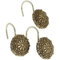 Carnation Home Fashions Sheffield Ceramic Resin Shower Curtain Hook, Antique Gold by Carnation Home...