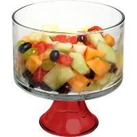 Anchor Hocking Presence Glass Footed Trifle Dessert Bowl with Red Base by Anchor Hocking