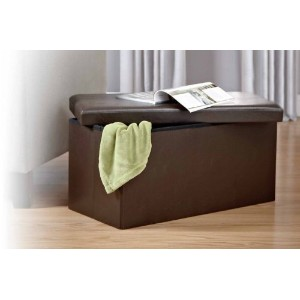 Kings Brand Brown Faux leather Folding Storage Ottoman Bench / Footstool by Kings Brand Furniture