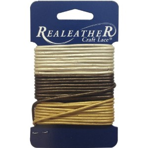 Round Leather Lace 2mm Carded 9yd-Gold, Silver and Bronze (並行輸入品)