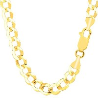 """10k Yellow Gold Comfort Curb Chain Necklace, 8.2mm, 22"""""""
