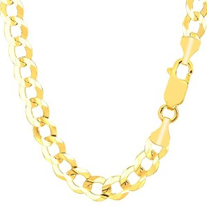 """10k Yellow Gold Comfort Curb Chain Necklace, 7.0mm, 24"""""""