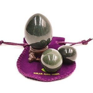 Nephrite Eggs 3-pcs Set, with 3 Sizes, for Yoni Massage, Stone Meditation Relaxation, Crystal...