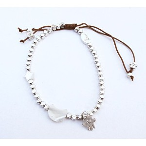 【iluck】Silver bead bracelet with moon and hamsa(ORLY-M) [ジュエリー]