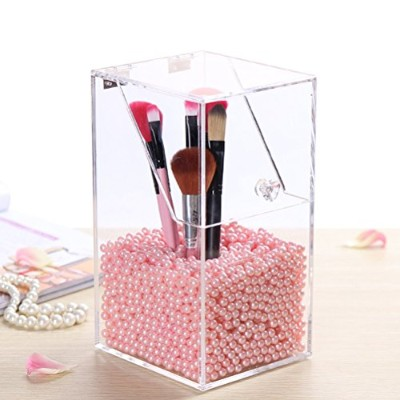 Linyuan アクリル Makeup Brushes Holder Organiser Storage Box Clear with Lid Dustproof