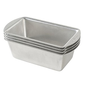 Nordic Ware Natural Aluminum Commercial Mini Loaf Pans, Four 2-Cup Pans by Nordic Ware