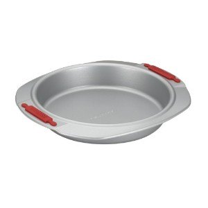 Cake Boss Deluxe Nonstick Bakeware 9-Inch Round Cake Pan, Gray with Red Silicone Grips by Cake Boss
