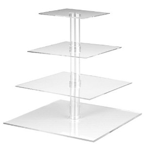 Utenlid 4-Tier Square Stacked Party Cupcake and Dessert Tower - Clear Acrylic Cake Stand by...