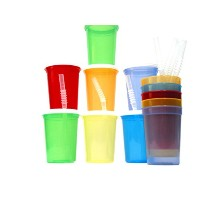 Talisman, Small Plastic Drinking Glasses, Lids and Straws, 12 Ounce, Translucent Colors by Jean's...
