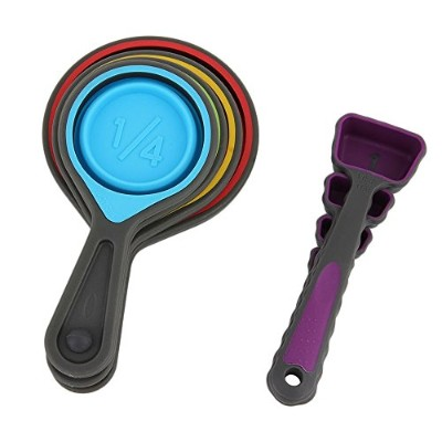 New Arrival 8-Piece Environmental Friendly Folding Silicone Measuring Cup and Spoon Set Tools -...