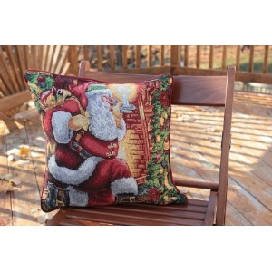 Tache 1 Piece 16 X 16 Tapestry Christmas Decorative Accent Down the Chimney Santa Claus Cushion...